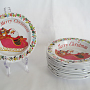 SALE Set of 16 Tin Christmas Ashtrays
