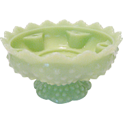 Fenton Shiny Lime Green Hobnail Candle Bowl