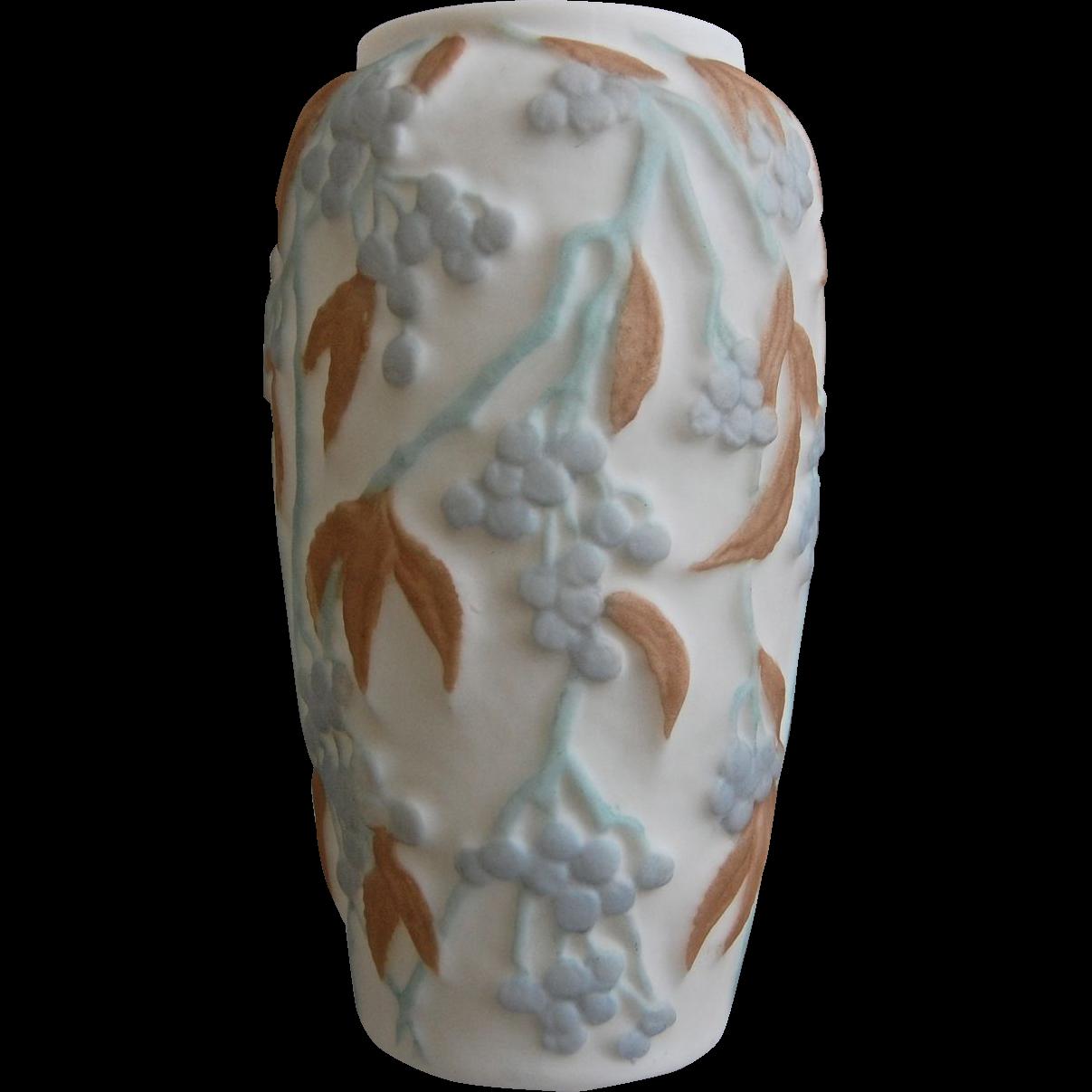 Consolidated Martele' Bittersweet Vase, Blue Tri-color, Ca. 1928
