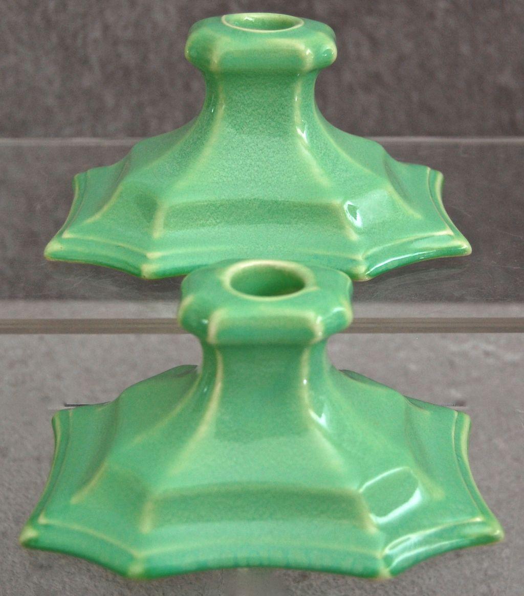 Cowan Pottery Candlesticks #642, Ca. 1924, Pair, April Green