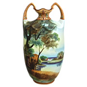 "REDUCED Noritake Nippon Matte Painted Scenic 10"" Vase, Ca. 1910"