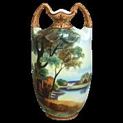 "Noritake Nippon Matte Painted Scenic 10"" Vase, Ca. 1910"