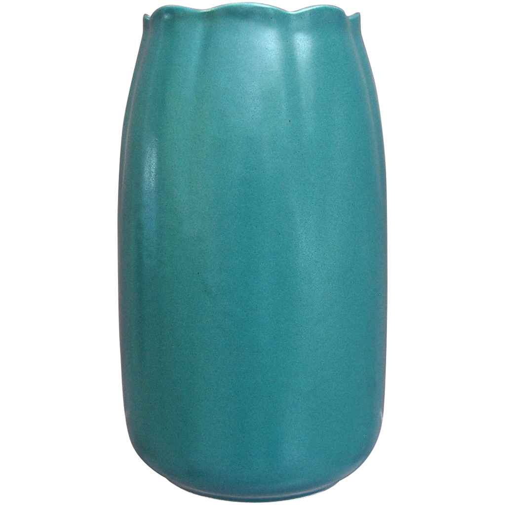 "Cowan Pottery 9"" ""Lakeware"" Vase #V-71, ""Peacock"" Glaze, Ca. 1930"