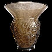 "Verlys France ""Alpine Thistle"" Vase, Smoky Topaz, Ca. 1932"