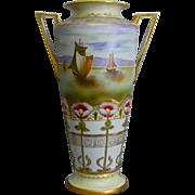 "Imperial Nippon 14"" Handpainted Vase w/Seascape, Circa 1910"