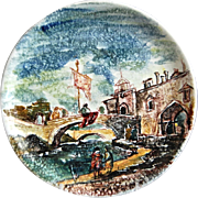 Hand Painted Earthenware Wall Plate, Montecatini, Italy