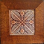 """Rookwood Pottery 6"""" Trivet Tile w/Oak Frame, Wine Madder Glaze, 1951"""