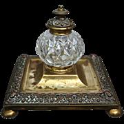 Victorian Cut Glass & Brass Inkwell