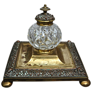 REDUCED Victorian Cut Glass & Brass Inkwell