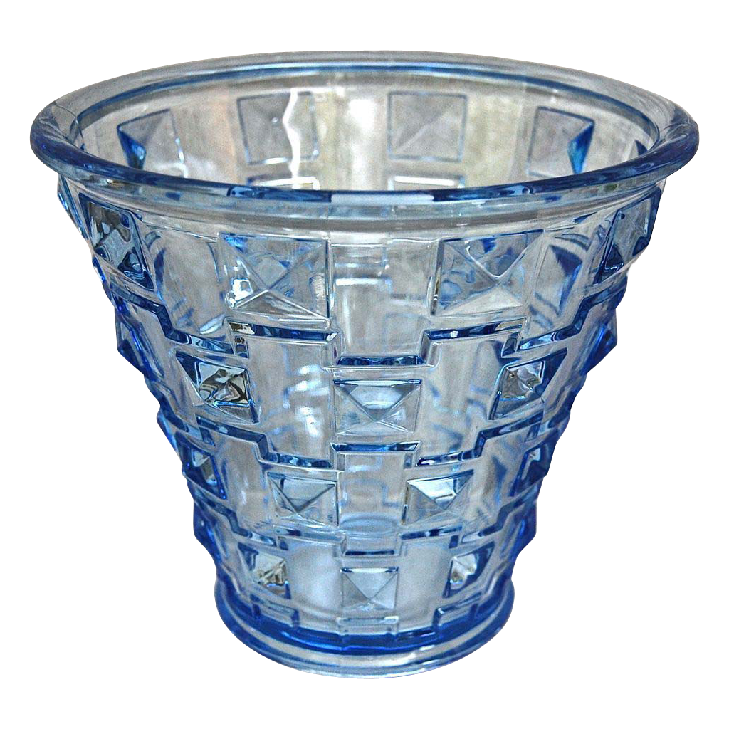 Orrefors Faceted Glass Vase, Blue, Circa 1930