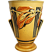 "Roseville Pottery Laurel Vase #673-8"", Yellow, Circa 1934"