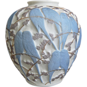 Consolidated Martele' Lovebird Vase, Blue Tri-Color, Circa 1926
