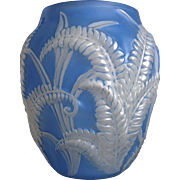 Phoenix Glass Sculptured Artware Fern Vase, Blue Wash, Ca. 1934