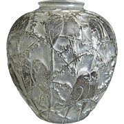 SOLD Consolidated Martele' Lovebird Vase, French Crystal, Circa 1930