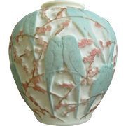 Consolidated Martele' Lovebird Vase, Green Tri-Color, Circa 1926