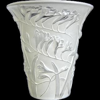 Phoenix Glass Sculptured Artware Freesia Vase, White, Circa 1934
