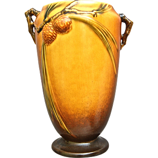 """Roseville Pottery PineCone Vase #709-10"""", Brown, Ca. 1935"""