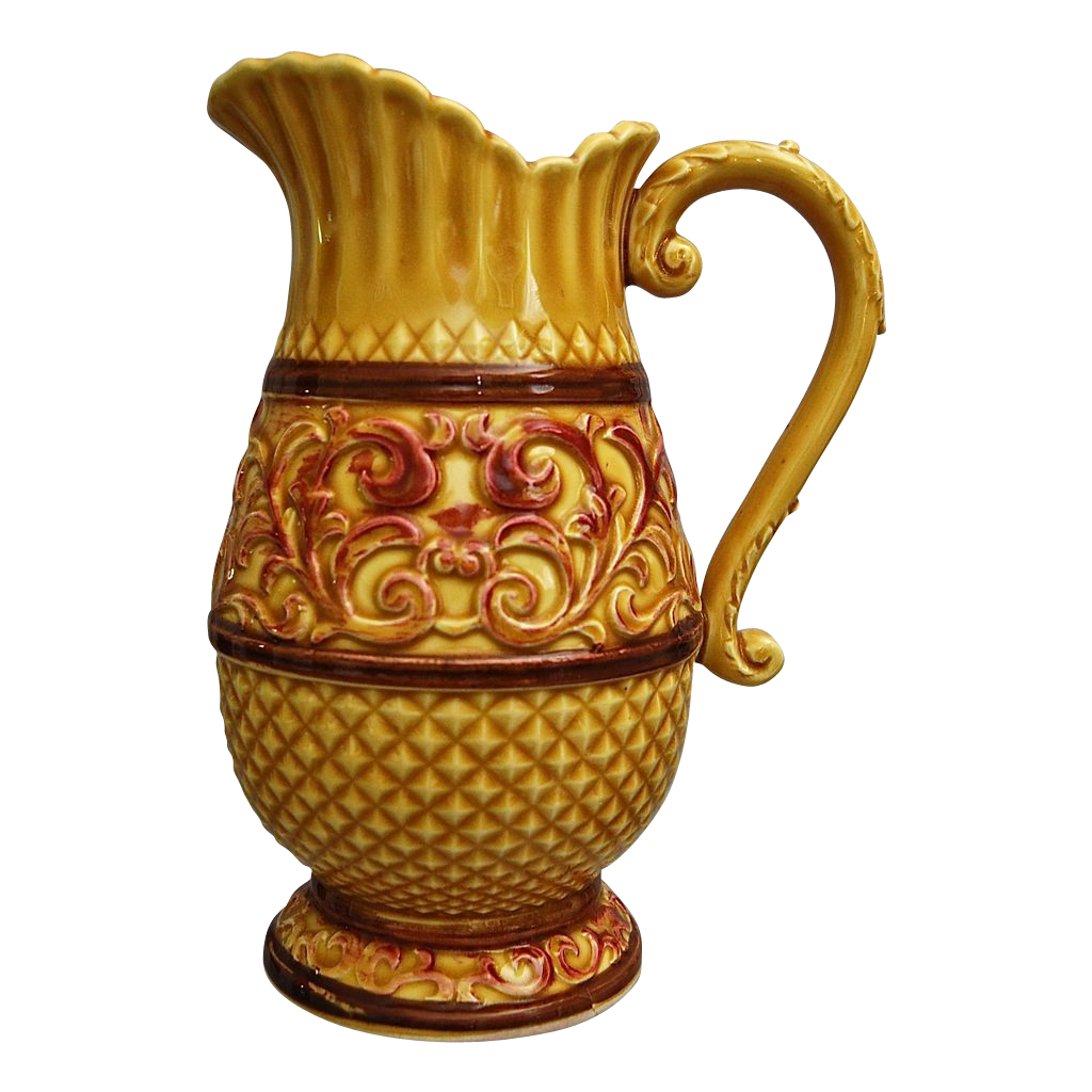 Elegant Majolica Pitcher with Scroll Handle