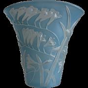 Phoenix Glass Sculptured Artware Freesia Fan Vase, Blue Wash, w/Label