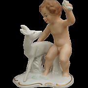 "Wallendorf Porcelain Figurine, ""Boy With Fawn"", c 1960's"