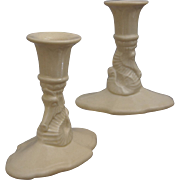 Cowan Pottery Seahorse Candlesticks Ca. 1928, Pair, Ivory