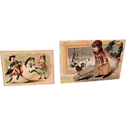 Two Old Cards With Dolls * Children & Santa