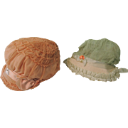 REDUCED Pair of Lovely Cloche Style Crepe Bonnets for Child or Large Doll
