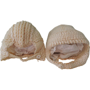 Lovely Pair of Knit Baby Bonnets for Large Doll