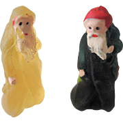 REDUCED Pair of Tiny Camphor Glass Santas/Belsnickles In Christmas Box