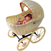 Darling Celluloid Doll Carriage ~ Baby Buggy & Tiny Renwal Baby