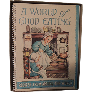 """Charming Cookbook """"A World of Good Cooking"""" with Original Box"""