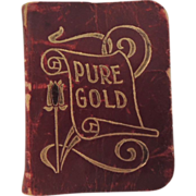 """SALE PENDING Lovely Miniature Leather Prayer Book """"Pure Gold"""" for Dolly Boudoir"""