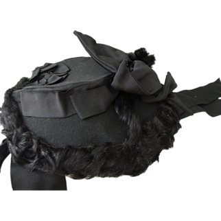 SALE Beautiful Black Bonnet for Lady or Large Doll * Madame Tierce