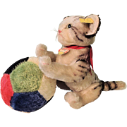 """SALE PENDING Darling Large Five Way Jointed Steiff """"Kitty"""" And Large Colorful Steiff"""