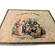"""SALE PENDING Lovely French Tapisserie Presentation Box with Great Graphics """"La Maitresse"""