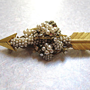 Miriam Haskell Arrow Brooch Laden With Pearls and Rhinestones