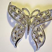 Signed Trifari Filigree Butterfly pin in Silvertone