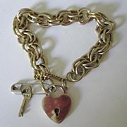 Bracelet With Padlock Heart & Key