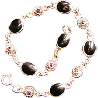 REDUCED Sterling, Marcasite and Onyx bracelet