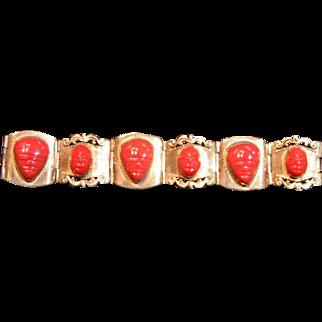 REDUCED Sterling & Carnelian Taxco Bracelet; BARGAIN priced
