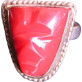 REDUCED Silver and carved Carnelian Ring; traditional Mayan
