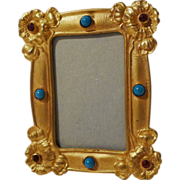 "Art Nouveau Gold-Plated Mini Frame with Cabochon & Rhinestone ""Jewels"""