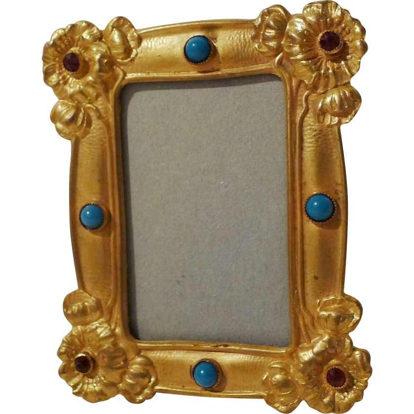 "Art Nouveau Gold-Plated Mini Frame with Cabochon & Rhinestone ""Jewels"""