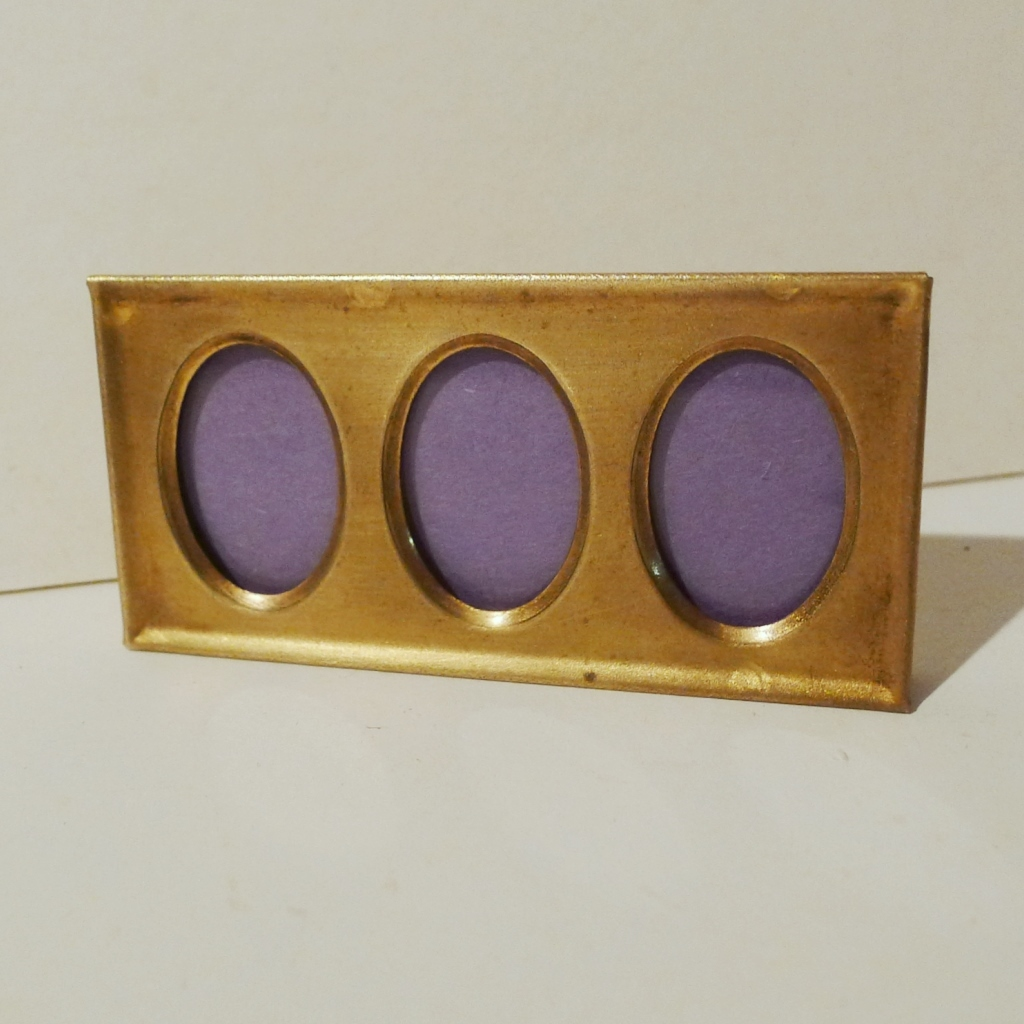 """Horizontal Brass """"Postage Stamp"""" 3-Opening Vintage  Mini Picture  Frame"""