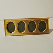 """Brass """"Postage Stamp"""" Vintage 4-Opening Horizontal  Picture  Frame"""
