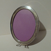 """American Oval STERLING Picture Frame with """"Feet"""" ca. 1910-20   6 7/8"""" Tall"""