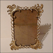 """Unusual Antique English Twisted Brass & Scrollwork Frame 8 1/4"""" Tall"""