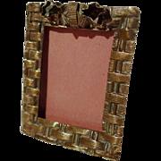 """Postage Stamp"" Miniature Basketweave Frame ca. 1900"