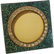 "Antique TURQUOISE Inlaid MOSAIC Frame w/""Stones"" 5 3/4"" Square"
