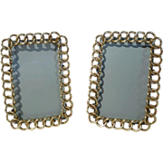 """Brass """"RING - Chain Link""""  Pr. Picture Frames 4 3/4"""" tall ca. 1870s"""